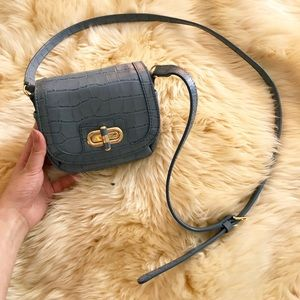 Ralph Lauren Croc Embossed Leather Crossbody